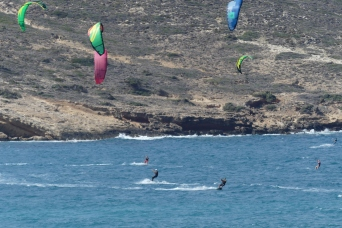 Prasonisi, a mecca for kite and wind surfers at the south of the island