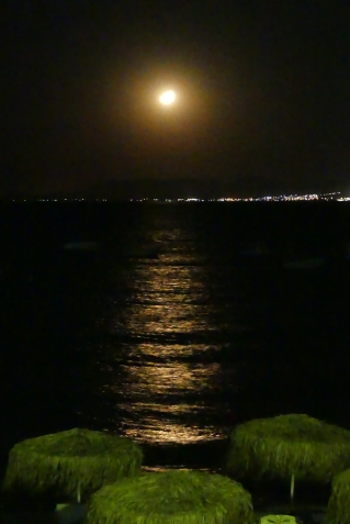 The view from our van at night at Pefkos