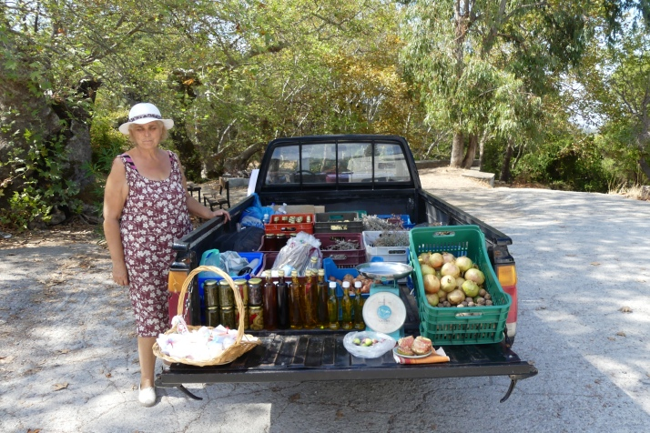 We bought some wonderful fresh produce from this lovely lady at the roadside