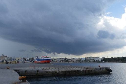 Storm clouds gather over Rhodes town