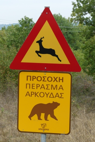 Warnings of bears and not to get out of the car
