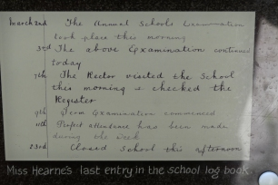 Tyneham - the last entry in the school register