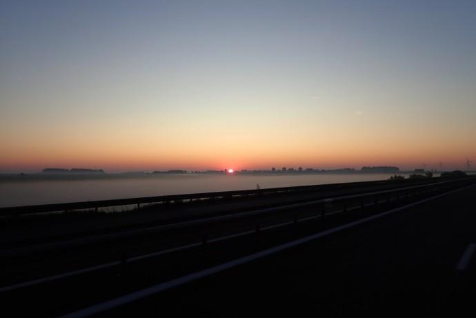 Arriving in France at sunrise