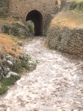 Flooding after the storm at Acrocorinth