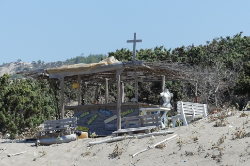 An irreverant beach chapel, Rhodes