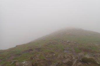 Not much of a view, up in the clouds at the summit