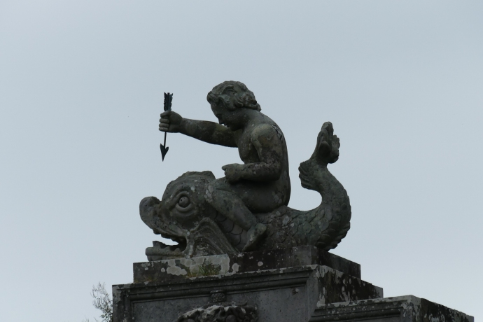 Little man stabbing a big fish with an arrow at Culzean Castle